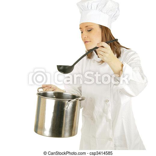 Picking Up Sauce Or Soup - csp3414585