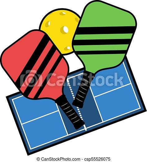 creative design of pickleball sport draw vectors illustration rh canstockphoto com pickleball clipart images pickleball clipart images