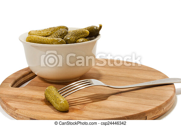 Pickles in white bowl - csp24446342