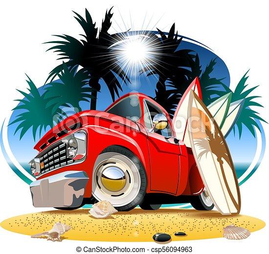 pickup, campista, caricatura, retro - csp56094963