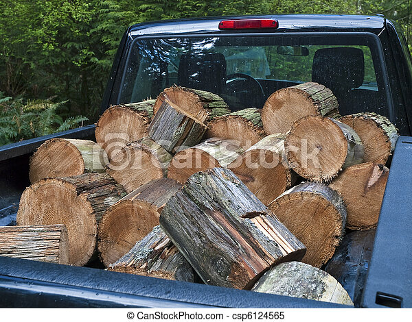 Pickup truck filled with firewood - csp6124565
