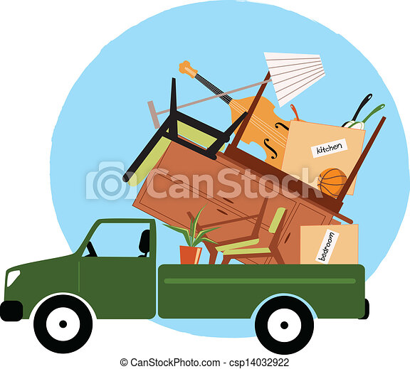 Pickup truck loaded with furniture - csp14032922