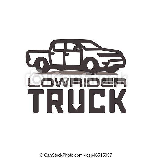 Pickup Truck Lowrider Logo Template Vector Illustration