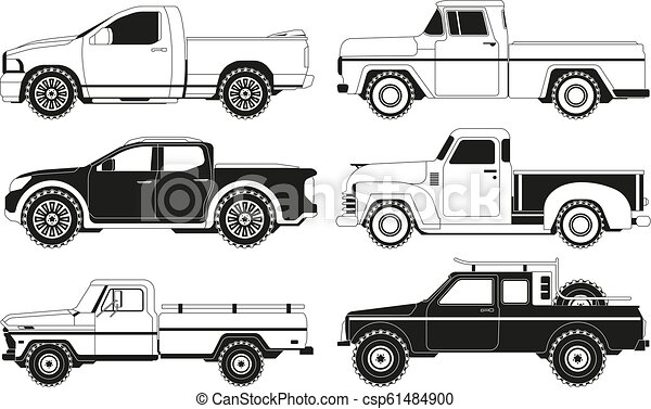 Pickup truck silhouettes. Black pictures of various automobiles - csp61484900