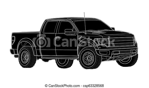 Pickup truck vector template isolated on white - csp63328568
