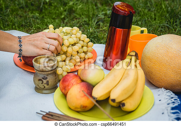 Picnic background with white wine and summer fruits on green grass - csp66491451