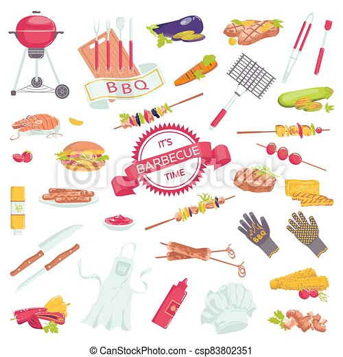 Picnic barbecue grill food set of barbeque meat accessories icons with steak, grilled sausages, salmon, fork collection vector illustration. - csp83802351