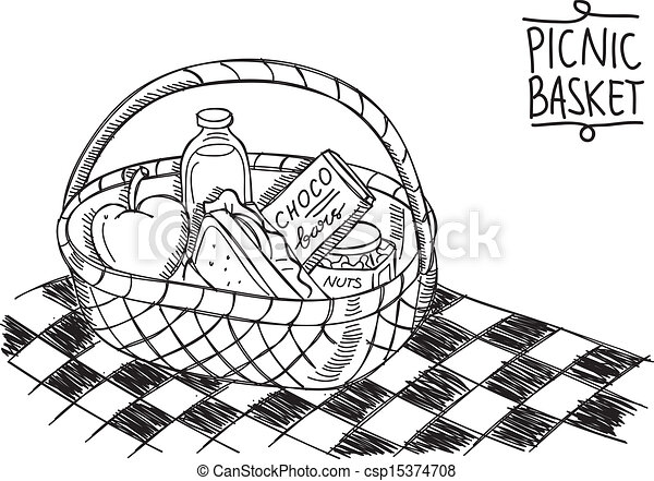 picnic basket in doodle style - csp15374708
