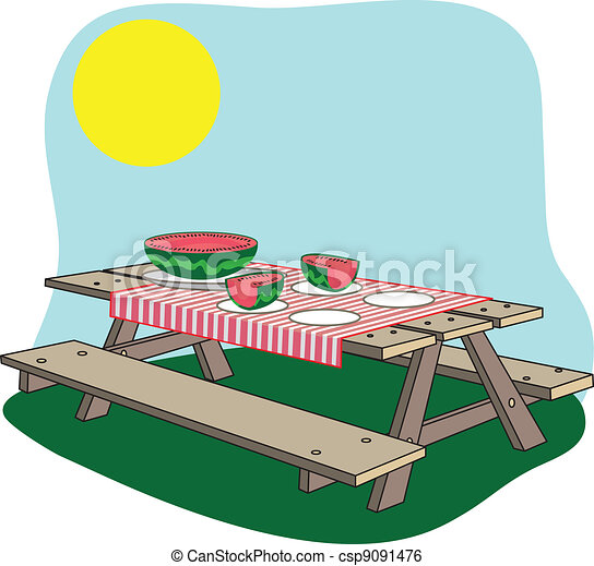 a picture of a picnic bench with a watermelon on it clip art vector rh canstockphoto com  picnic table clipart free