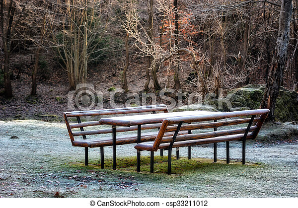 picnic bench with frost in the forest landscape. Soft focus, blured background, low key, dark background, spot lighting, and rich Old Masters - csp33211012