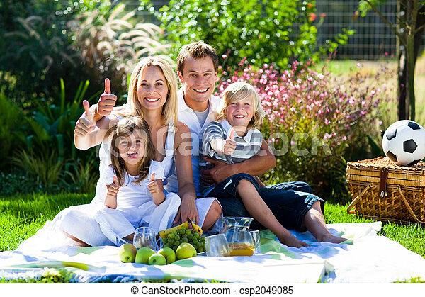 picnic, familia , parque, arriba, pulgares, teniendo, feliz - csp2049085