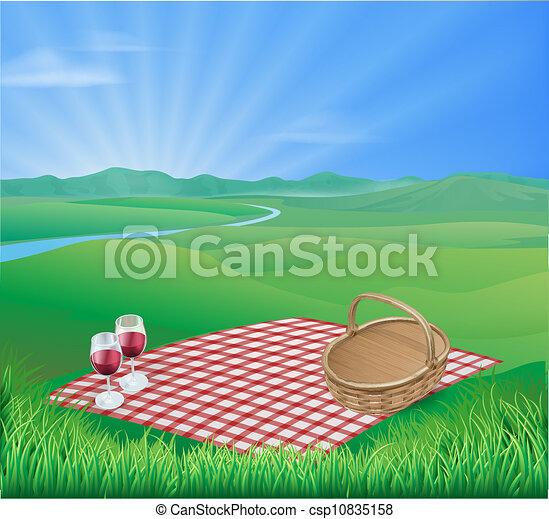 Picnic in beautiful rural scene - csp10835158