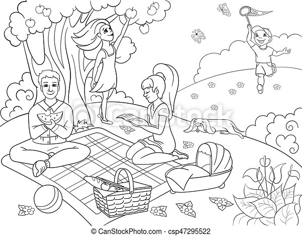 Picnic in nature coloring book for children cartoon vector ...