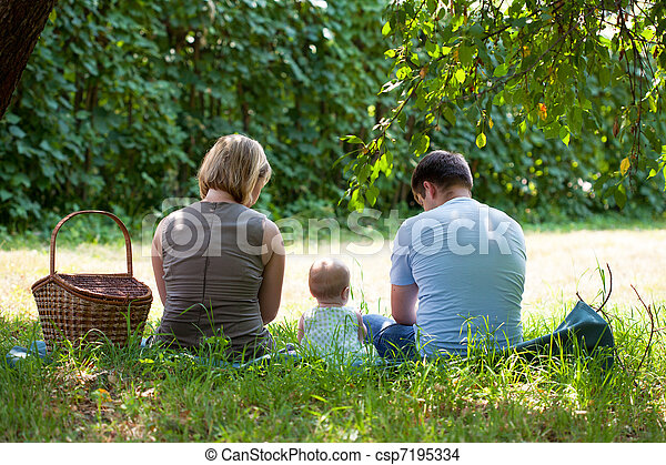picnic, parque, teniendo, familia  - csp7195334