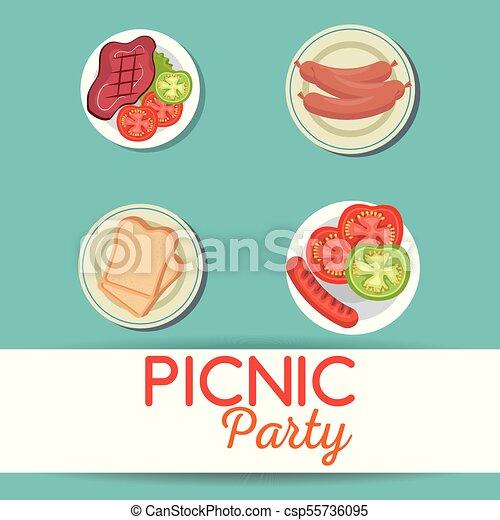 Picnic party invitation set icons vector illustration design picnic party invitation set icons csp55736095 stopboris Choice Image
