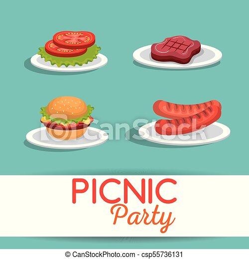 Picnic party invitation set icons vector illustration design picnic party invitation set icons csp55736131 stopboris Choice Image