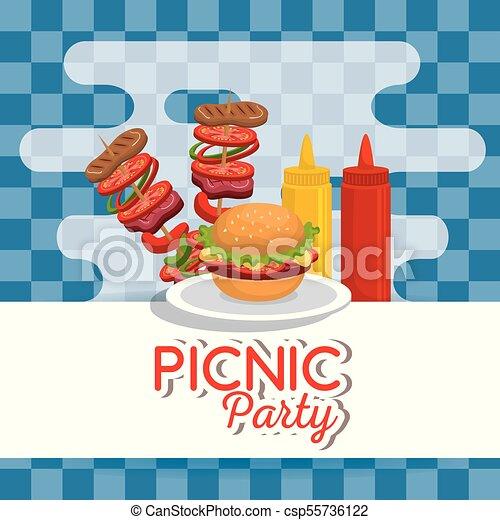 Picnic party invitation set icons vector illustration design vector picnic party invitation set icons csp55736122 stopboris Choice Image