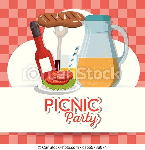 Picnic party invitation set icons vector illustration design vectors picnic party invitation set icons csp55736074 stopboris Choice Image