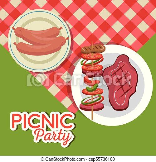 Picnic party invitation set icons vector illustration design picnic party invitation set icons csp55736100 stopboris Images