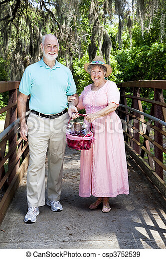 Picnic Seniors on Bridge - csp3752539