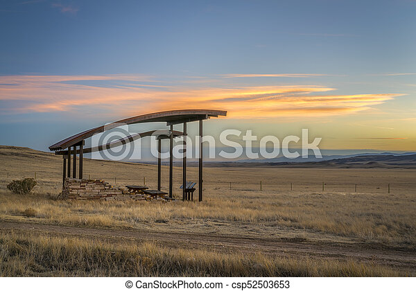 picnic shelter at foothills in northern Colorado - csp52503653