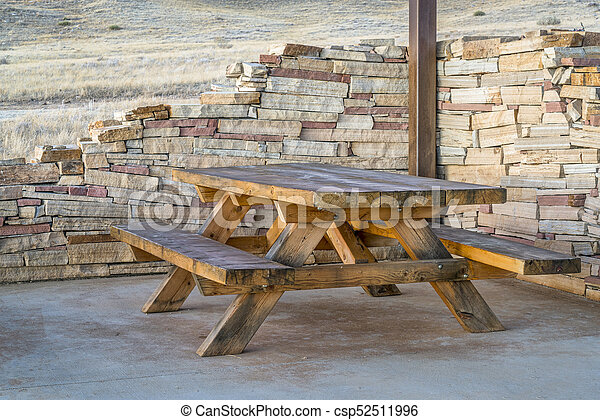 picnic table and shelter - csp52511996