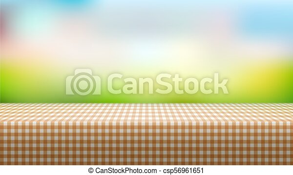 picnic table covered with tablecloth on blurred background eps10