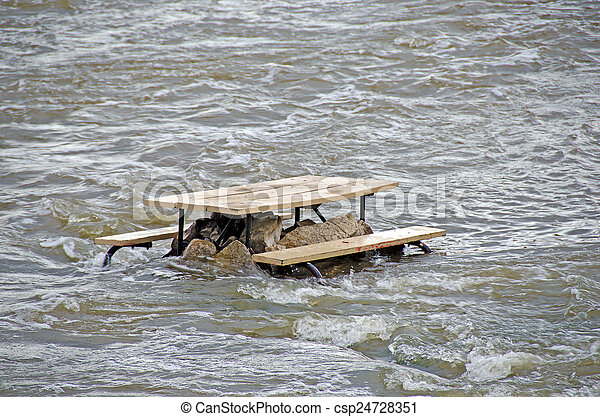 Picnic Table In River Rapids Wooden Picnic Table On Rocks In River - Picnic table michigan