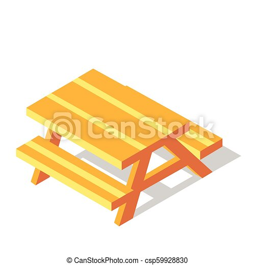 Picnic table isometric illustration. Picnic table vector ...