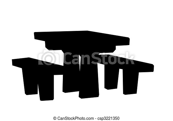 picnic table silhouette isolated on a white background stock rh canstockphoto com  picnic table clipart black and white