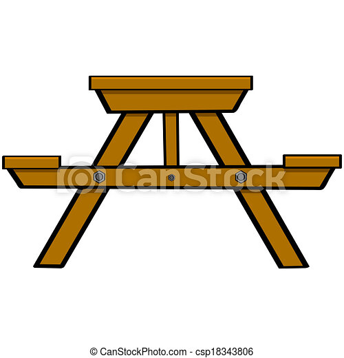 picnic table cartoon illustration showing a typical wooden rh canstockphoto com picnic table clipart png picnic tablecloth clipart