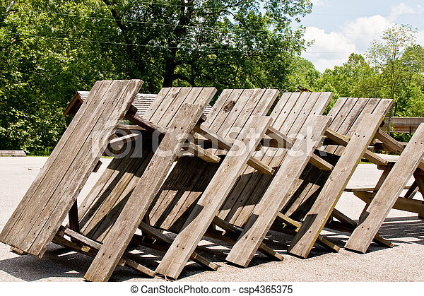 Picnic Tables Stacked Up   Csp4365375