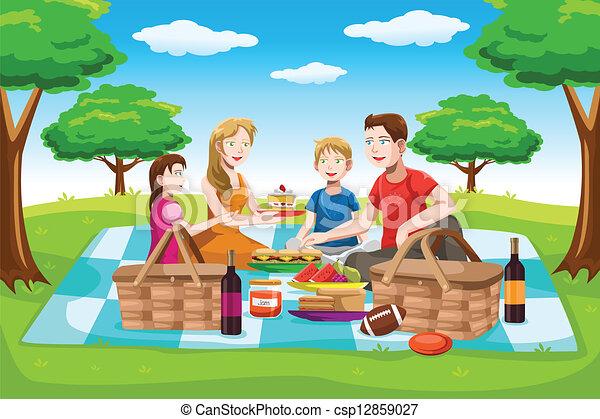 picnic, teniendo, familia , feliz - csp12859027