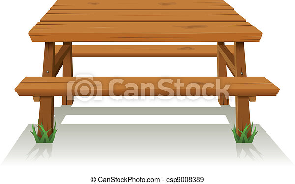 Picnic wood table. Illustration of a cartoon wooden picnic ...