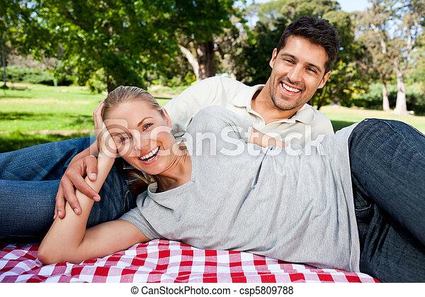 picnicking, paar, park - csp5809788