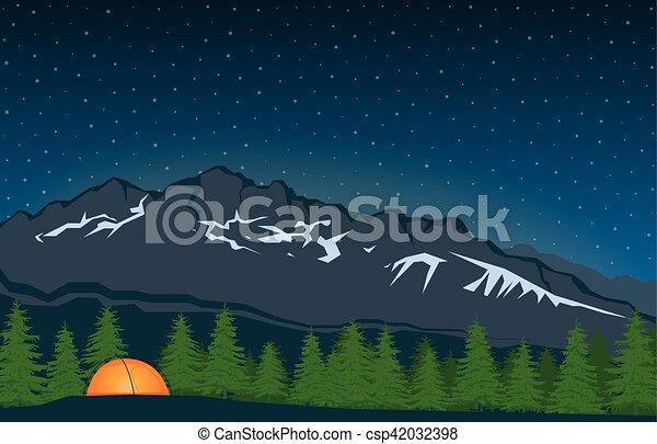 Paisaje con pico de montaña - csp42032398