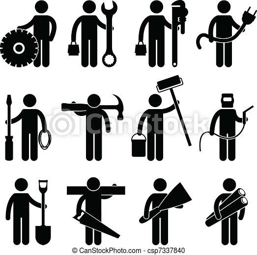 Pictog Arbeit Bauhofarbeiter Ikone Satz Arbeiter Pictogram
