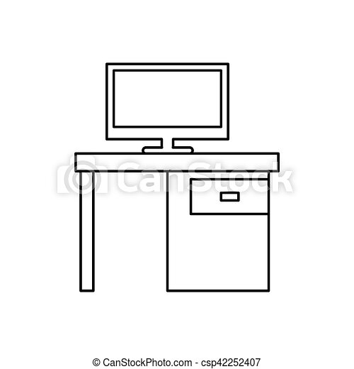 Pictogram Computer Desk Office Drawers Icon   Csp42252407