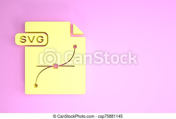 pictogram, document., symbool., render, svg, vrijstaand, minimalism, bestand, downloaden, gele, knoop, illustratie, concept., achtergrond., roze, 3d - csp75881145