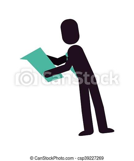 Fotograma de Hombre de Negocios leyendo icono - csp39227269
