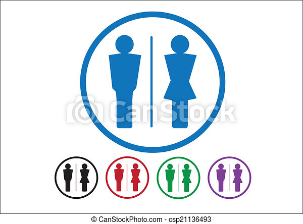 Pictogram Man Woman Sign icons, toilet sign or restroom icon - csp21136493