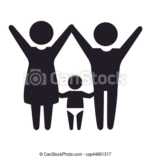 pictogram monochrome with mom and baby and dad vector vector clip rh canstockphoto ca mom and baby animal clipart mom and baby whale clipart