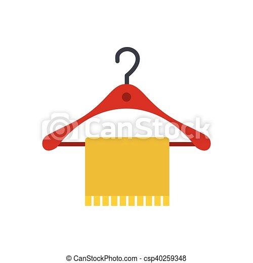 Pictogram, plat, stijl, hanger, baddoek. Plat, badkamer, hanger ...