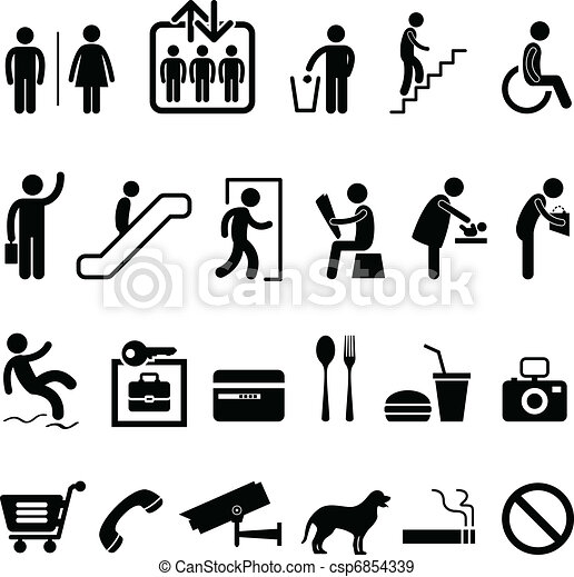 pictogram, winkelcentrum, meldingsbord, publiek - csp6854339