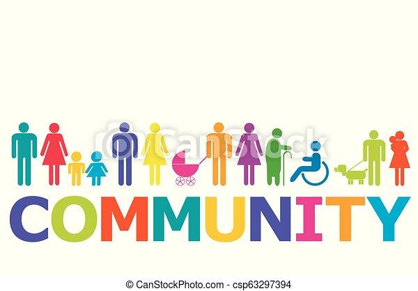 pictograms, concept, coloré, communauté, gens - csp63297394