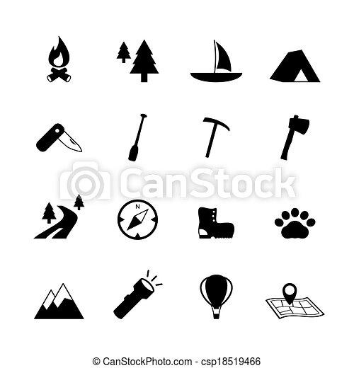 pictograms, idegenforgalom, kempingezés, szabadban - csp18519466