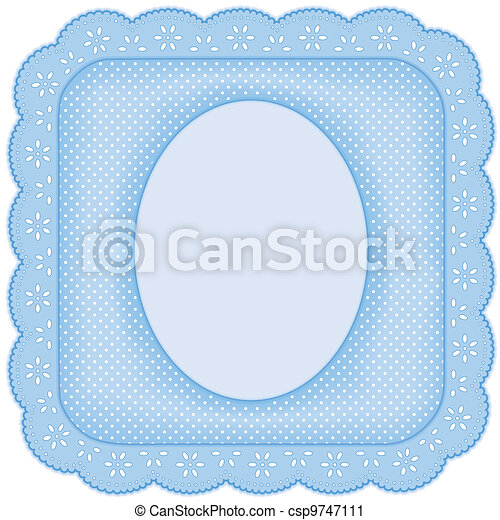 Picture Frame, Blue Eyelet Lace - csp9747111