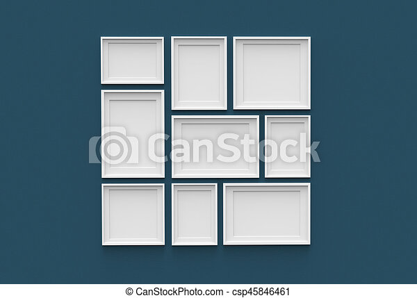 Picture frame isolated on dark blue drywall background. 3d illustrated.