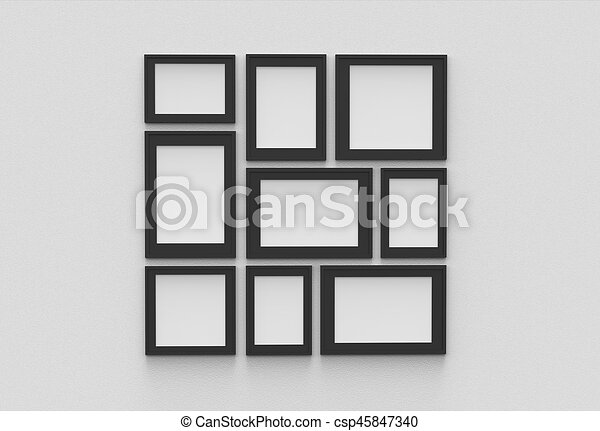 Picture frame isolated on white drywall background. 3d illustrated.