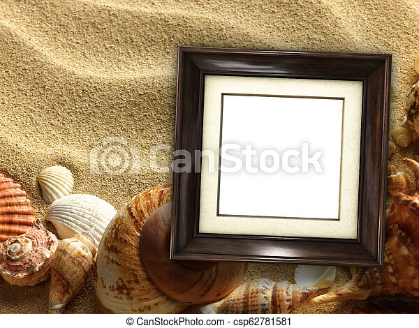 Picture frame on shells and sand background - csp62781581